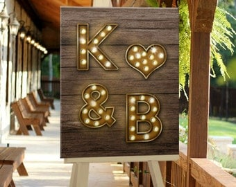 CUSTOM, Printable, Digital Wedding Sign, Welcome Sign for Event, Country Wood with Marquee Lights