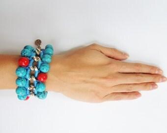 Turquoise Bead Bracelet Bohemian Bracelet Hippie Chic Jewelry Woven Chain Bracelet Coral Bracelet Chain Link Bracelet Statement Bracelet