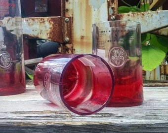 Ciroc Vodka Drinking Glass - Set of Two Red Berry Upcycled Rocks Glasses From Bar Used One Liter Bottles