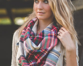Plaid Scarf, Plaid Blanket Scarf, Oversized Scarf, Chunky Scarf, Bulky Scarf, Fall Scarf, Big Scarf, Plaid Wrap, Christmas Gift for her,Fall