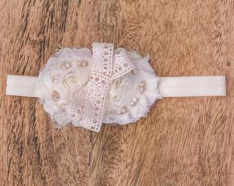 Newborn Headband,Baby Headbands,Lace Flower Headband,Bow Headband,Baby Girl Headband,Baby Hair Bows,Infant Headband,Headbands, Cream Lace