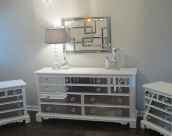 Mirrored Dresser and Matching Nightstand Pure White with