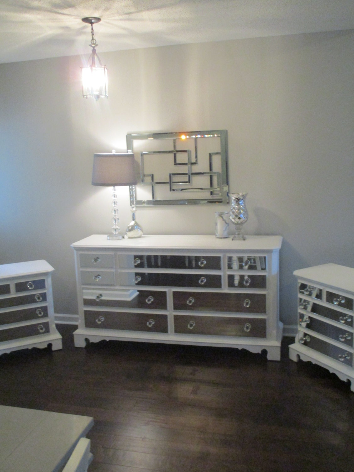 Mirrored dresser and 2 matching nightstands pure by for Matching bed and dresser