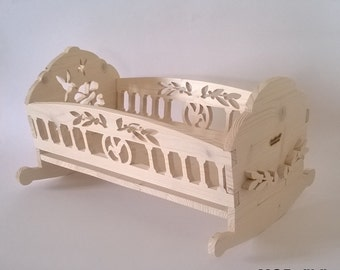 Doll cradle, My Doll, doll cradle, wooden doll cradle made of solid pine, handmade scrollsaw, white shabby (Cod. GIO001)