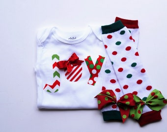 Baby girl christmas outfit - babies first christmas outfit - baby christmas legwarmers - baby christmas onesie - over the top Christmas