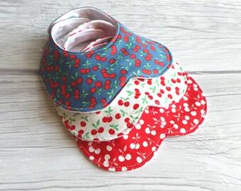Cherry Baby Girl Bib Set / Baby Bib / Peter Pan Collar Bib / Toddler Bib / Drool Bib / Organic Fleece / Cherries / Blue, White and Red