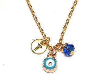 Evil Eye Necklace, Evil Eye Jewelry, Evil Eye Charm, Evil Eye Pendant, Turkey evil eye, lucky eye charm, lucky eye Necklace, Gold Evil Eye