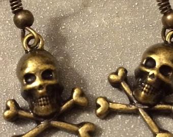 Skull Earrings, Skull and Crossbones, Halloween, Skeleton, Skull, Pirate