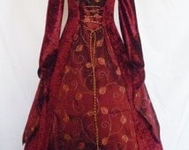 medieval dress pagan gown gothic costume velvet Fantasy Handfasting  Renaissance wedding custom made to any size faire larp