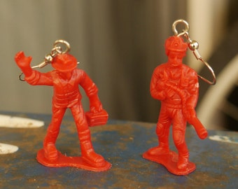 Firefighter Earrings - upcycled firefighter toys