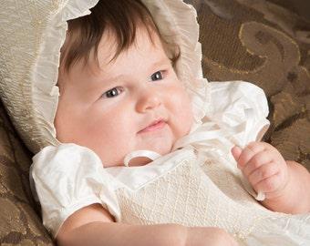 Silk Smocked Christening Dress with Bonnet - Smocked Christening gown with embroidery and pearls
