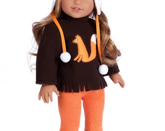 Foxy -  Doll Clothes for 18 inch American Girl Doll - 4 Piece Doll Outfit - Hat, Blouse, Leggings and Boots