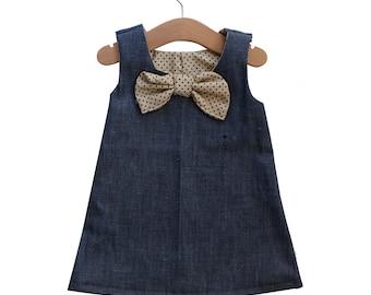 18-24 Months / 2T Denim and Polka Dot Baby Girl Jumper Dress