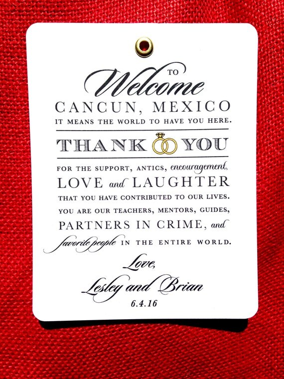 Wedding Gift Bag Thank You Cards : Wedding Gift Tags, Thank You Tags, Guest Bags, Hotel Bags ...