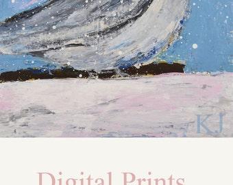 Digital Print. Blue Chickadee Bird Painting. Wall Art Prints. Cottage Chic Print. Bedroom Wall Decor. 23