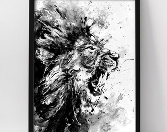Lion, Acrylic Painting Print, Lion Roar, Lion Art, Animal Art, Angry Animal, Black And White Art, Animal Painting, For Him, Wild Life, Cat