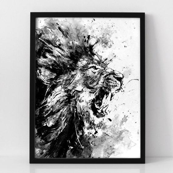 lion acrylic painting print lion roar lion art animal art