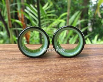 "Black & Jade 2 Tone Tunnels Glass 6g 4g 2g 0G 00g 7/16"" 1/2"" 9/16"" 5/8"" 4 mm 5 mm 6 mm 8 mm 9.5 mm 10 mm 12 mm up to 1"" Inch (25.4 mm)"