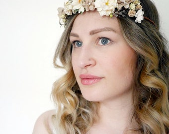 Ivory Flower Crown DIY Kit- Champagne Flower Crown Wedding Accessory- Rustic Wedding- Ivory Flower Crown- Champagne Floral Halo