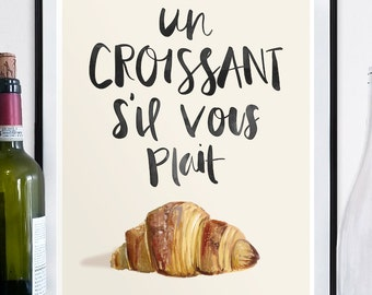 Croissant Poster, Croissant Print, French poster, french art, france, french art poster, croissant art, detailed poster, 18 x 24, france art