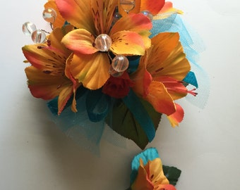 Orange  Prom Corsage, Wrist Corsage, Orange Homecoming Corsage, Wedding, Prom Corsage