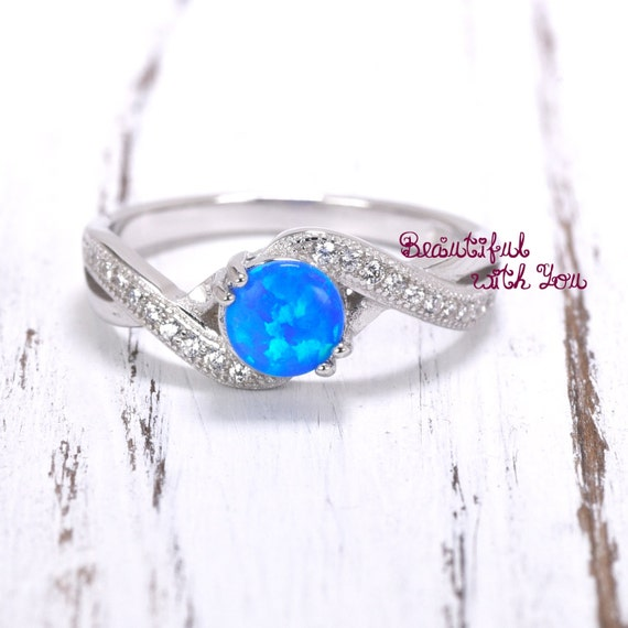 Opal Ring Womens Blue Opal Wedding Band Unique Promise Ring