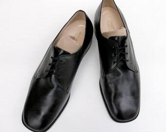 Men's genuine leather shoes Vintage Salamander brand shoes Black men's shoes size US 14 Made in Germany 90's men's fashion Gift for him