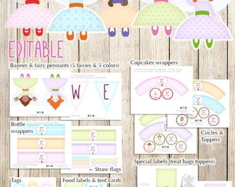 Fairy printable party kit, fully editable baby shower or Birthday party printables, fairy decoration, DIY Instant download printable pdf