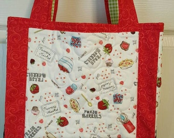 Quilted Strawberry Grocery Tote - Shopping Bag