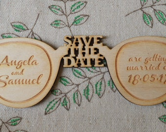 Fun Spectacles / Glasses Personalised Wooden SAVE THE DATE Fridge Magnets