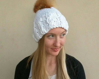 Beanie with oversized Genuine Natural Wild Coyote Fur Pom