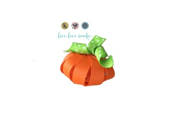 Halloween-Pumpkin with Korker Vine-Applique-Patch-Grosgrain Ribbon-DIY Supplies-Fabric Applique-Hair Supplies-Embellishment-Supply Shop