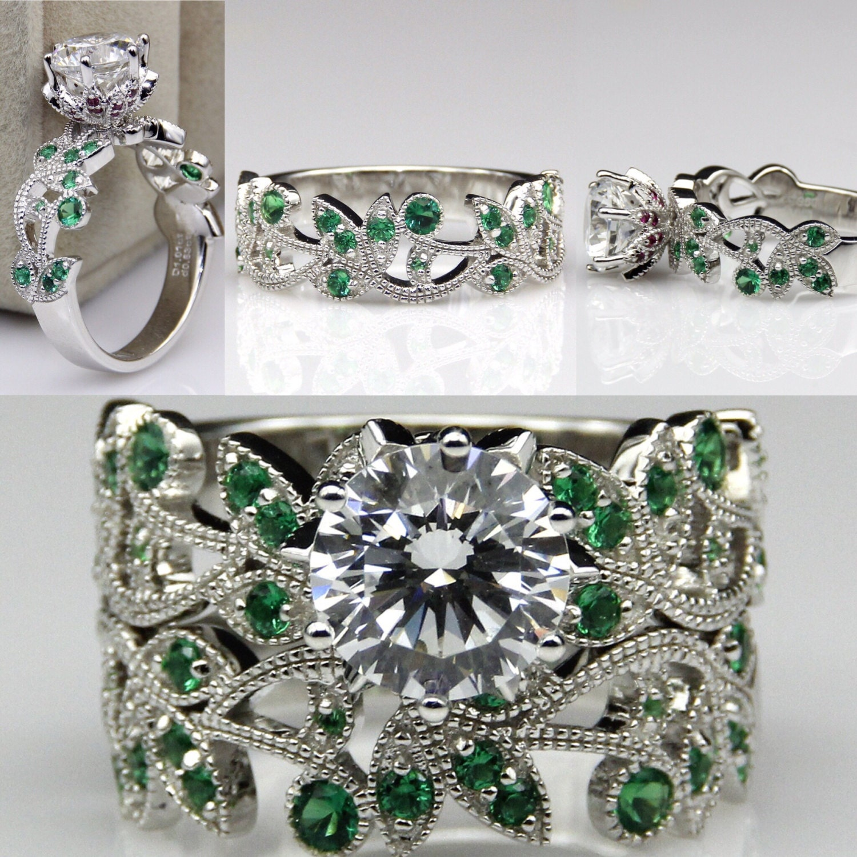 poison ivy ring batman wedding ring Poison Ivy Emerald Ruby and Diamond Batman Cosplay Costume Engagement Ring Wedding Ring Promise Ring Harley Quinn Joker Comic Book