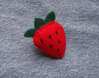Felt Strawberry Pin Brooch