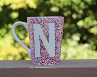 Pink and Gold Dotted Letter Mug