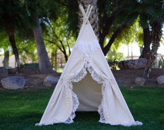 Shabby-chic teepee with canvas base and lace trim, kids Teepee, tipi, Play tent, wigwam or playhouse with canvas base