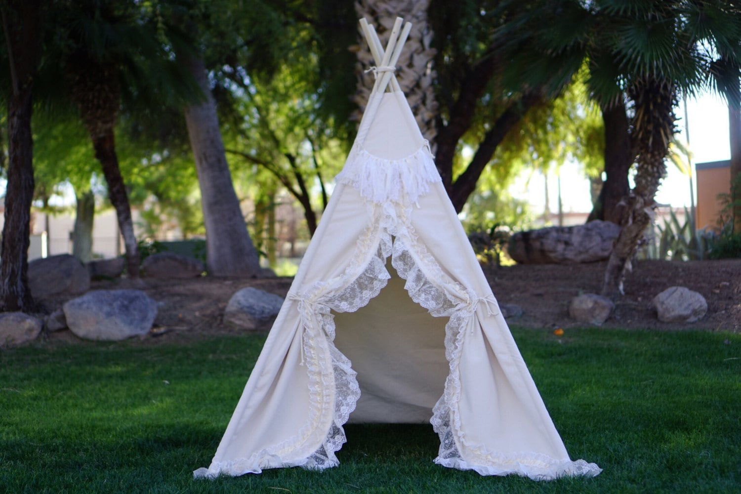 Shabby-chic teepee with canvas base and lace trim kids Teepee tipi Play tent wigwam or playhouse with canvas base & Shabby-chic teepee with canvas base and lace trim kids Teepee ...