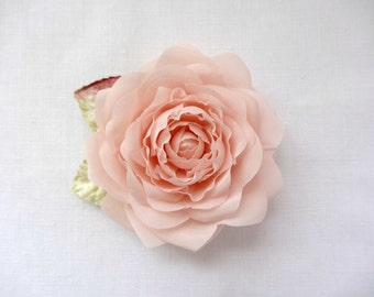 Blush Pink Pure Silk Rose Hair Clip Corsage