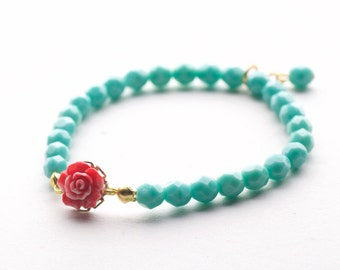 Turquoise bracelet, Fire Polished Glass Beads bracelet with resin flower.