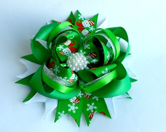 Christmas Hair Bow Holiday Hair Bow Christmas Hairbow Christmas Hair Clip Boutique Hairbow Red green bow Christmas Bow Baby Girls Hair Bows