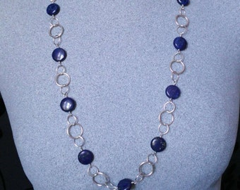 Lapis necklace, Lapis and silver necklace, long silver necklace
