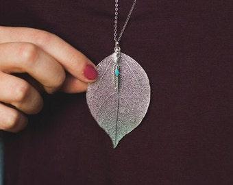 Real leaf necklace, Silver leaf necklace, Real leaf pendant, Silver leaf pendant, Silver dipped leaf, Silver charm necklace, Long necklace