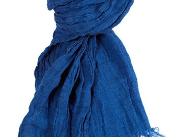 Pure linen scarf, blue linen scarf, scarf for women, blue scarves, navy linen shawl, white dots, blue shawl, wrap, woman fashion, flax scarf