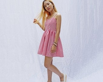 Gingham strappy sweetheart smock sundress,cami dress, babydoll dress, smock dress , summer dress, vintage dress, fit and flare dress