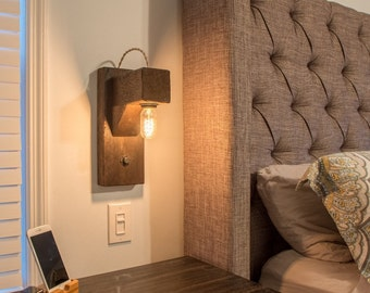 """Rustic """"Hangman"""" style wall sconce with Edison bulb"""