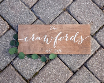 Family Name Sign - Last Name Sign, Est. - Wooden Wedding Signs - Wood