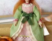 Tiny souvenir doll - handmade OOAK miniature doll Leola, artistic small doll, pocket doll - 5 inch