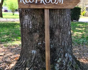 Restroom Sign, Wedding Restroom Sign, Wooden Restroom Sign, Restroom Sign Wedding, Wooden Wedding Sign, Rustic Wedding Sign Directional Sign