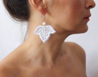 Christmas Gift, white lace earrings, chandelier earrings, statement earrings, lace jewelry, white boho