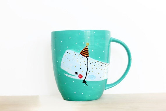 Whale Mug Party Hat - Handpainted original illustration - Tea Coffee Cup Seagreen - Porcelain Mug - Fine Bone China Kawaii